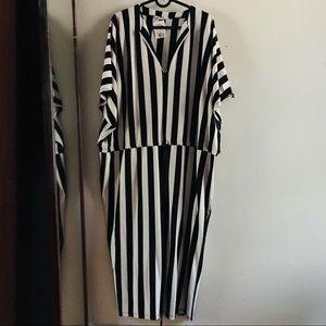 Zara Moroccan Stripe Drawstring Tunic Dress